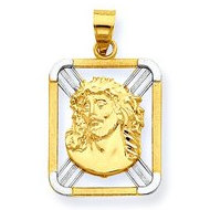 14K Yellow Gold w  Rhodium Diamond cut Rectangle Ecce Homo Pendant