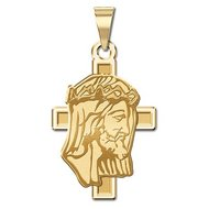 14K Yellow Gold Jesus Profile on Cross Pendant