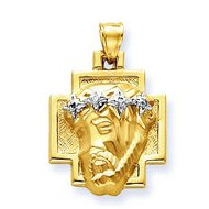 14K Two Tone Gold Christ Head and Cross with Polished Border