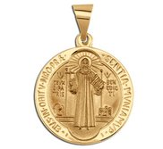 14K Yellow Gold Saint Benedict Hollow Jubilee Religious Medal