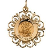 14K Yellow Gold Round Saint Joseph Religious Medal with Filigree Border