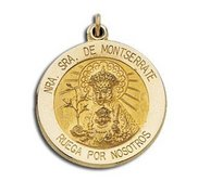 14K Yellow Gold Our Lady of Montserrate Religious Medal