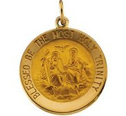 14K Gold Holy Trinity Religious Medal