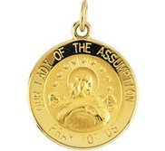 14k Gold Our Lady of the Assumption Religious Medal