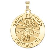 14K Yellow Gold  EXCLUSIVE  Saint Florian Religious Medal