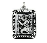 Sterling Silver Antiqued Rectangle Saint Christopher Religious Medal