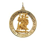Saint Christopher Round Cut Out Religious Medal