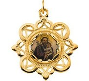 Saint Joseph Enamel Pendant with 10K Yellow Gold Frame