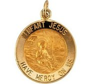 14K Gold Infant Jesus Religious Medal