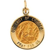 14K Gold Our Lady of Lourdes Religious Medal