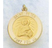 14K Gold Saint Peter the Apostle Religious Medal