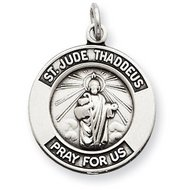 Sterling Silver Round Antiqued Saint Jude Medals