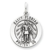 Sterling Silver Round Antiqued Saint Florian Religious Medal