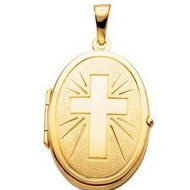OVAL SHAPED LOCKET W CROSS