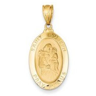 14K Yellow Gold Saint Joseph Oval Religious Medal