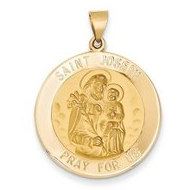 14K Yellow Gold Saint Joseph Round Hollow Religious Medal