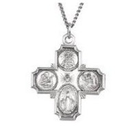Sterling Silver Four Way Religious Medal