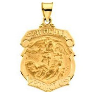 14K Gold Saint Michael Badge