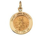 14K Gold Saint John the Baptist Religious Medal