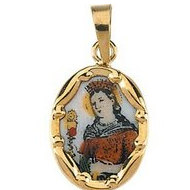 14K Gold and Porcelain Saint Barbara Religious Medal