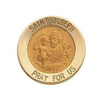 14K Yellow Gold Round Saint Joseph Lapel Pin