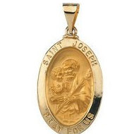 14K Gold Saint Joseph Hollow Oval Religious Medal