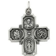 14K White Gold Four Way Religious Medal