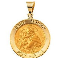 14K Gold Saint Anthony Hollow Religious Medal