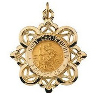 14k Gold Saint Christopher Religious Medal