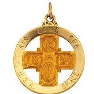 14K Gold Four Way Religious Medal