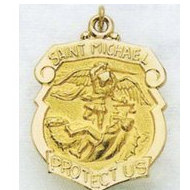14K Saint Michael Badge Religious Medal