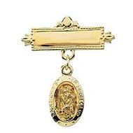 14K Yellow Gold St Christopher Baptismal Pin