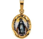 14k Yellow Gold and Porcelain Miraculous Medal