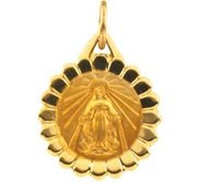 14k Yellow Gold Small Round Miraculous Medal