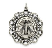 Sterling Silver Miraculous Medal Antiqued Scalloped Round Pendant