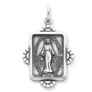 Sterling Silver Miraculous Religious Medal Antiqued Rectangle Pendant