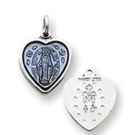 Sterling Silver Petite Heart Shaped Miraculous Religious Medal Pendant w  Epoxy Resin