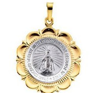 14K White and Yellow Gold  two tone  Miraculous Medal