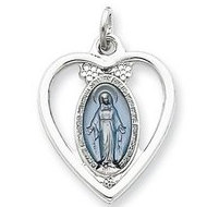 Sterling Silver Heart Shaped Cut Out Miraculous Religious Medal Pendant w  Epoxy Resin