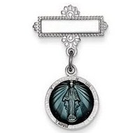 Sterling Silver Miraculous Medal Baptismal Brooch with Aqua Enamel