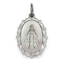 Sterling Silver Miraculous Medal Scalloped Oval Pendant Charm