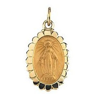 14k Yellow Gold Oval MIRACULOUS MEDAL