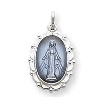 Sterling Silver Scalloped Oval Miraculous Religious Medal Pendant w  Epoxy Resin