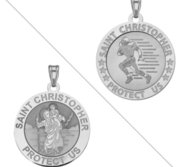 Football   Saint Christopher Doubledside Sports Religious Medal  EXCLUSIVE
