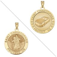 Racing   Saint Christopher Doubledside Sports Religious Medal  EXCLUSIVE