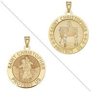 Volleyball   Saint Christopher Doubledside Sports Religious Medal  EXCLUSIVE
