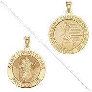 Track   Field   Saint Christopher Doubledside Sports Religious Medal  EXCLUSIVE