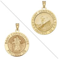 Surfing   Saint Christopher Doubledside Sports Religious Medal  EXCLUSIVE