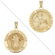 Lacrosse   Saint Christopher Doubledside Sports Religious Medal  EXCLUSIVE