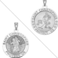 Ice Hockey   Saint Christopher Doubledside Sports Religious Medal  EXCLUSIVE